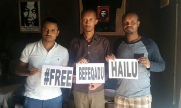 Released bloggers Atnaf Birhane, Natnael Feleke and Abel Wabella